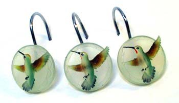 Merveilleux Summer Jewels HUMMINGBIRD Bathroom SHOWER CURTAIN HOOKS