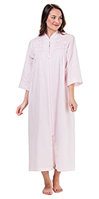 Miss Elaine Women's Plus Size Seersucker Long Zipper Robe