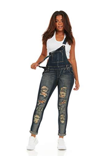 (Cover Girl Women's Denim Overalls Bib Strap Button Skinny Fit, Distressed Dark)