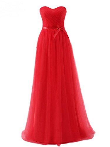 Lang Brautjungfernkleider Rot Abendkleider Tüll Linie Damen Ballkleider Partykleider A qwEgxP