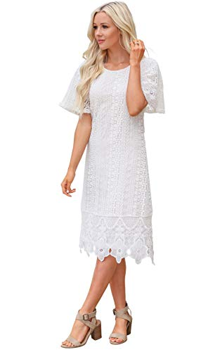 Mikarose Women's Nora Modest Crochet Lace Overlay Flutter-Sleeve A-Line Dress (White, Small)