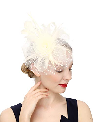 Cizoe Flower Cocktail Tea Party Headwear Feather Fascinators Top Hat for Girls and Women(1-Beige)]()