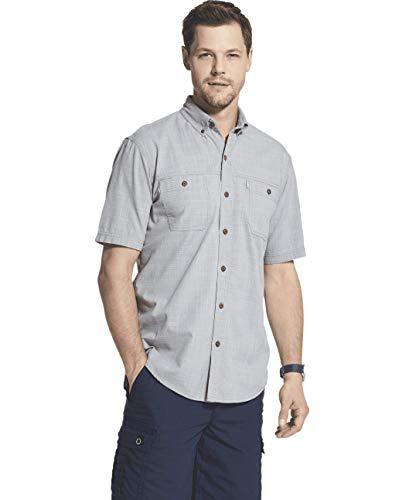 G.H. Bass & Co. Men's Big and Tall Crosshatch Short Sleeve Button Down Solid Shirt, Shark Skin, Large from G.H. Bass & Co.