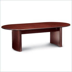 Global Total Office Racetrack 10' Conference Table with Curved Base-Mahogany - Mahogany