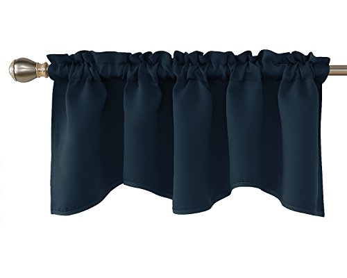 Deconovo Blackout Scalloped Valance Curtains Short Tier Valances for Small Window 52x18 Inch Navy Blue 1 Panel
