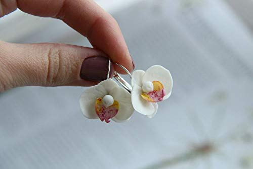 Blue handcrafted orchid hair pin Mirobel