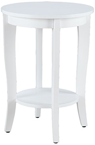 Convenience Concepts American Heritage Round Table, White - Faux Cherry Finish Distressed
