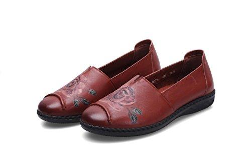 38 Loafer Brown De Bombas Otoño Fiesta Primavera Señoras Soft Bottom Nueva Rojo Marrón Ocio Únicos eur38uk55 Trabajo uk Zapatos Negro 5 Antideslizante Pisos Eur Piel 5 Comfort Nvxie Genuina CwYqgp