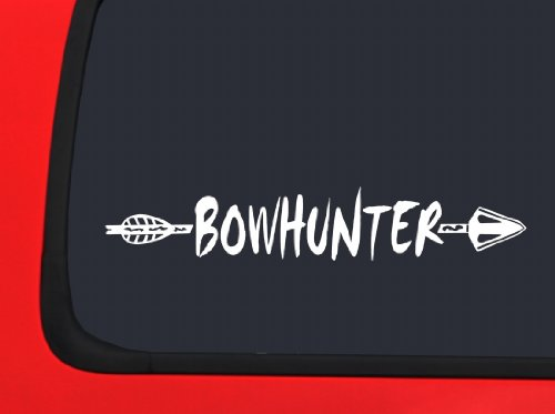 Arrow & Bowhunting White Bow Hunting window decal (Bow Decal)