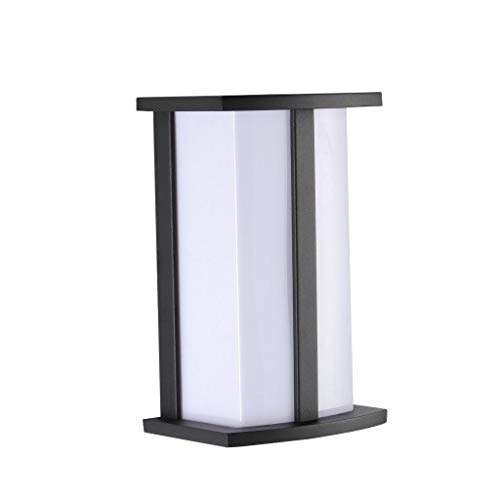 "LJ OutDoor Light Wall Sconce 4215 Aluminum Matt-black Paint Modern Design Outdoor 10"" Rectangular Wall Mount Pocket Lantern Yard Bathroom Kitchen Fixture Metal frame+Acrylic housing"