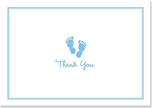 Baby Steps Thank You Notes - Blue (Stationery, Note Cards, Boxed Cards) -