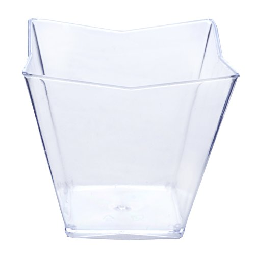 Efavormart 60 Pcs - Clear Angled Square 3oz Disposable Plastic Dessert Cup