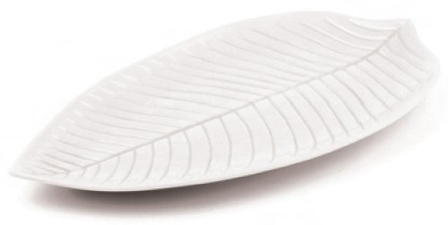 Aps Paderno World Cuisine White Melamine Leaf Dish, 20-7/8-Inch by 11-3/8-Inch
