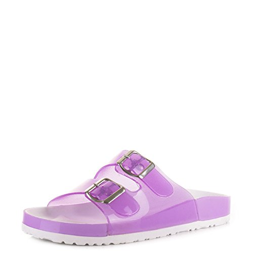 Womens Fashion Jelly Two Bar Buckle Flat Summer Sandals Shoes Lilac