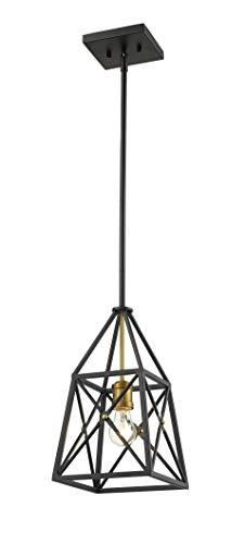 - Z-Lite 447MP-MB-OBR Trestle 1 Light 8 inch Matte Black and Olde Brass Mini Pendant Ceiling Light