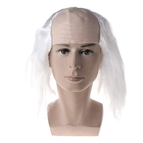 Qupida Halloween Wigs Bald Hair Masquerade Costume Party Funny Cosplay Prop Black/White (White) -