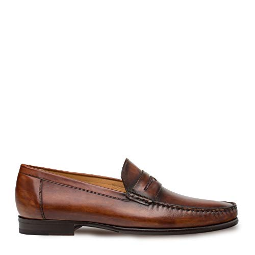 Mezlan Malaga - Mens Handsewn Moccasin with Burnished Finishes - European Calfskin Loafer - Handcrafted in Spain - Medium Width (14, Cognac)