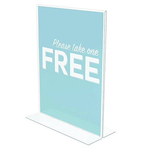 (Deflecto Classic Image Stand-Up Sign Holder, Tabletop and Desk, Double-Sided, Vertical, 8.5