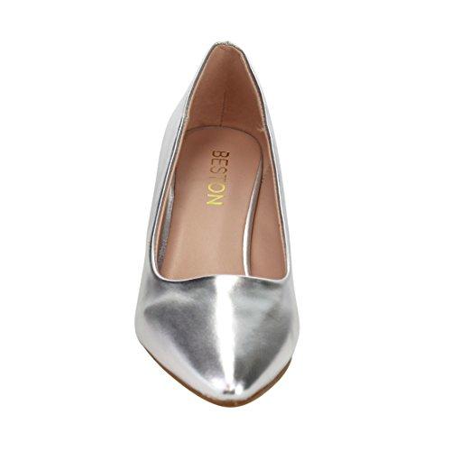 Size Womens DE24 Elegant Heel Dress Silver One Pumps Toe Small Kitten Pointed BESTON Fv1q5wa