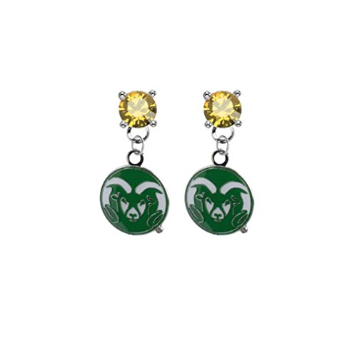 (Colorado State Rams Gold Crystal Stud Post Dangle Earrings)