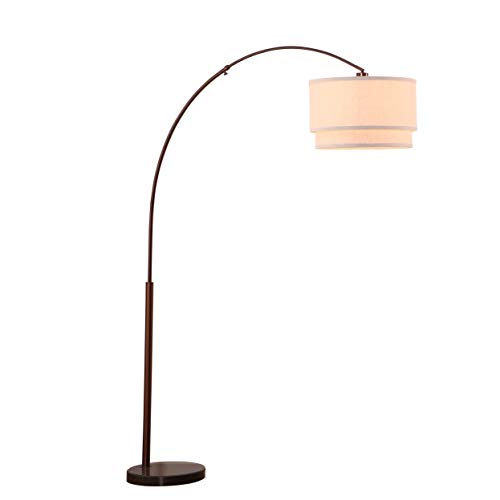 Arc Floor Lamp with Marble Base - Living Room Pole Lighting - Modern, Tall Standing Hanging Light Fits Behind The Couch Or in A Corner - Bronze ()