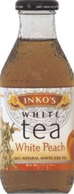 Inko's Organic White Tea White Peach Flavor 16 Oz Pack of 12 by Inkos Tea