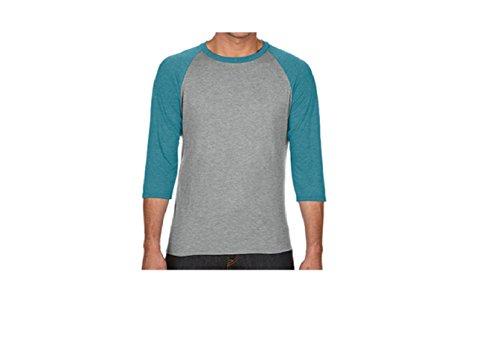 Grey heather Heather Modelo Camiseta 4 Raglan Tone Anvil Galapagos Mangas 3 Unisex Blue Two RnzvxPSg
