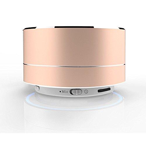 SUNG-LL Aluminum Alloy Wireless Bluetooth Speaker Calls Handsfree TF Card Music Bass Subwoofer Stereo Speaker (Gold)