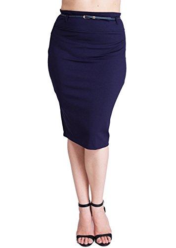 Woman Navy Blue Plus Size Back Zipper Pencil Skirt with Belt