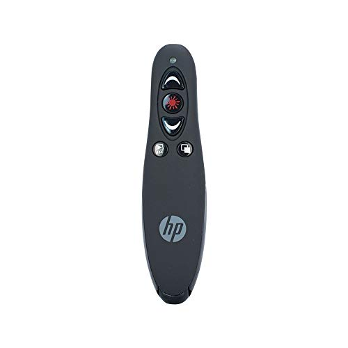 HP Wireless Presenter with Laser Pointer - 5 Button - Remote Presentation, USB Control Power Point Clicker - Rechargeable Lithium - Hp Remote