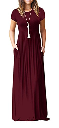 Viishow Women Summer Short Sleeve Loose Plain Long Maxi Casual Dress with Pockets (Wine red - Girdle Sheer