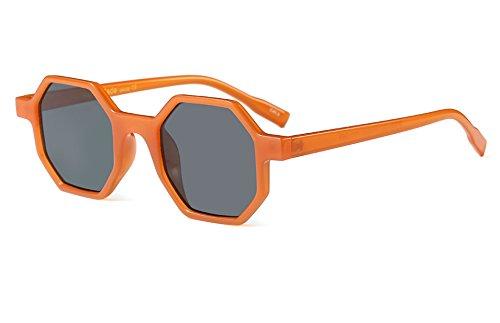 Small Plastic Sunglasses - Hexagonal Sunglasses for Men Women Vintage Retro Glasses Plastic Geometric Frame (Orange, 46)