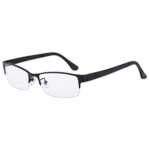 Half Rim Anti-Blu-Ray Computer Reading Glasses +4.00 Mens Womens Black Frame Readers ()
