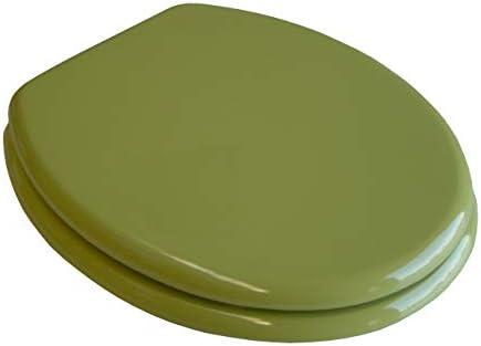 WC Sitz Klobrille Holzkern Farbe Moosgrün, verstellbare messingverchromte Scharniere