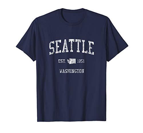 - Seattle Washington T-Shirt Vintage Sports Design WA Tee