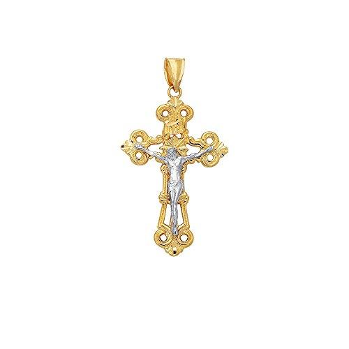 14 carats-Bicolore-Pendentif Grande Croix Crucifix JewelryWeb