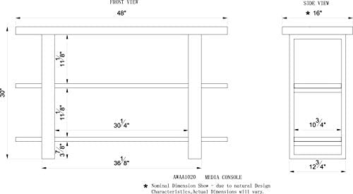 Alaterre Furniture Alpine Natural Wood Media Console Table Live Edge, Brown/Black