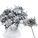 Factory Direct Craft Package of 12 - Pine Cone with Artificial Frosted Glitter Pine Christmas Holiday Floral Picks