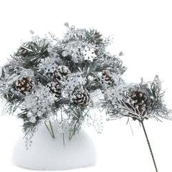 Factory Direct Craft Package of 12 - Pine Cone with Artificial Frosted Glitter Pine Christmas Holiday Floral Picks (Picks Christmas)