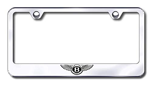 New Stainless Steel Chrome Bentley Logo Only License Plate Frame W//Bolt Caps