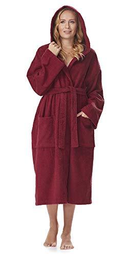 Arus Women's Classic Hooded Bathrobe Turkish Cotton Terry Cloth Robe (XS,Burg.) Burgundy (Terry Cloth Bath Robe Kids)