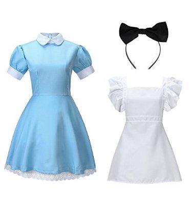 cf8ab80bcc1e Amazon.com: NUOLAN Women's Alice Wonderland Blue French Apron Maid Fancy  Dress Cosplay Costume: Clothing