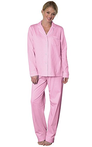 PajamaGram Pajamas for Women Soft - Cotton Jersey Ladies Pajamas, Pink, M, 10-12
