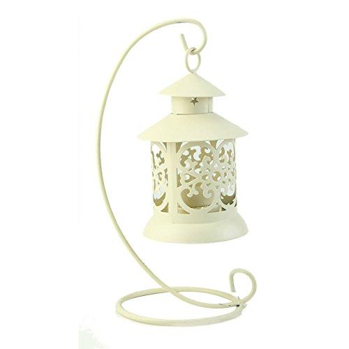 Wrisky Iron Moroccan Style Candlestick Candleholder Candle Stand Light Holder Lantern (White)