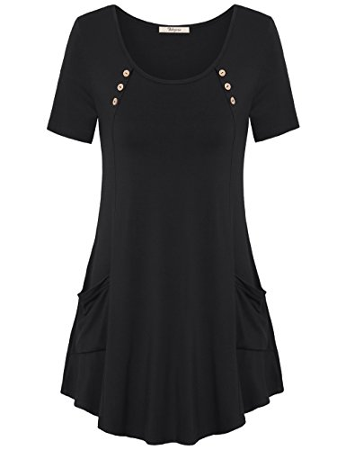 Cotton Square Neck Tunic (Bebonnie Tunics For Women, Womens Round Neck Short Sleeve Casual Pleated Tshirts Tunic Top Black L)