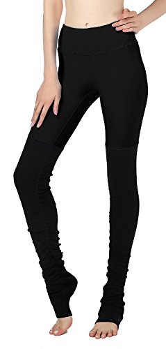 Ladies Pure Color Splice Stretch Workout Leggings Wrap Foot Yoga Tights 03L