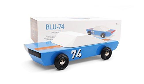 Candylab Toys Blu74 Wooden Car Modern Vintage Racer - Solid Beech - Vintage Wooden Toy