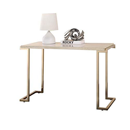 Bowery Hill Console Table in Faux Marble and Champagne