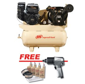Ingersoll Rand Compressors 2475F14GTS Two-Stage Gas-Powered, 14 HP, Kohler With Free Air Impact Wrench And Start Up Kit