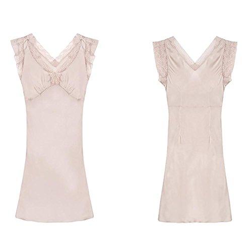 HXQ Lencería De Seda de la Mujer Camisa de Encaje Babydoll Ropa de Dormir bare powder